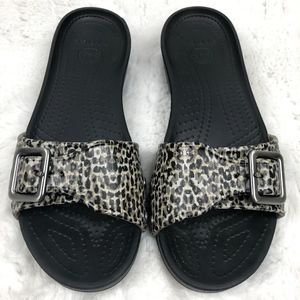 Croc Women's Slip on Sandals Animal Print Buckle